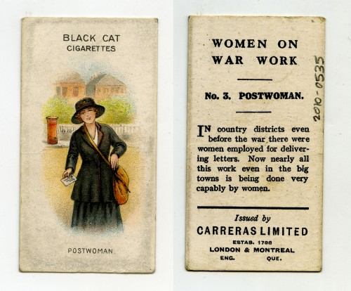 A 'Women on War Work' Black Cat cigarette card giving information about the jobs being done by women during the war (2010-0535)
