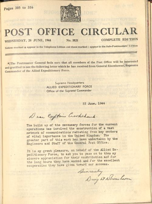Letter from General Eisenhower reprinted in the Post Office Circular (POST 47/770)