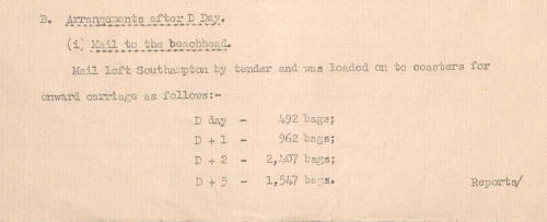 Number of bags of mail sent on D-Day and the following days from Army Council Secretariat minutes (POST 47/770)