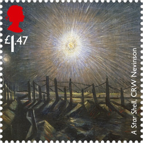 Christopher Richard Wynne Nevinson's painting A Star Shell, 1st class.