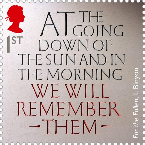 A fragment from Laurence Binyon's poem 'For the Fallen' carved by stonemason Gary Breeze, 1st class.