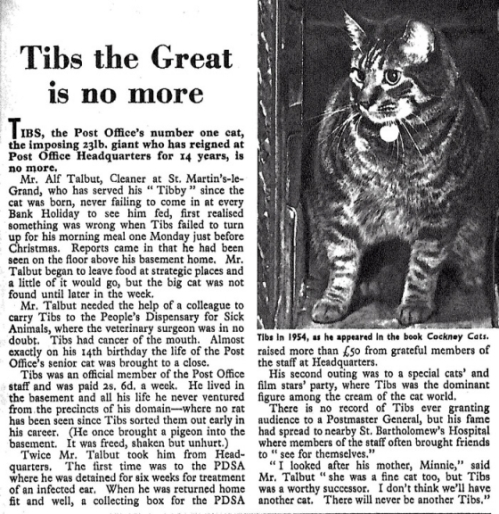 Tibs' obituary from Post Office Magazine 1965.