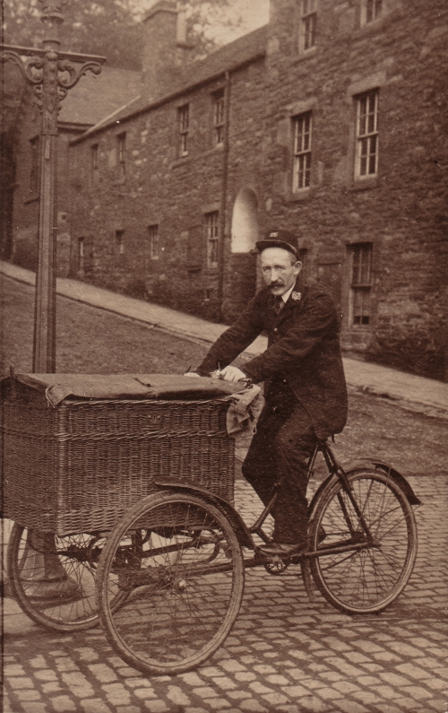 Pte J Brady Black Watch showing tricycle used by collectors 1914.