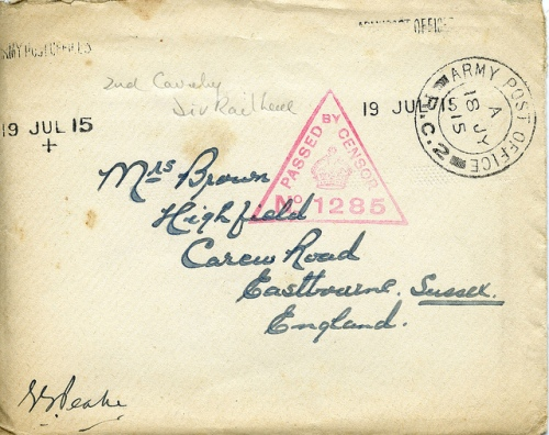 Cancelled with Army Post Office cancellation and with triangular censor mark. (PH12/05)