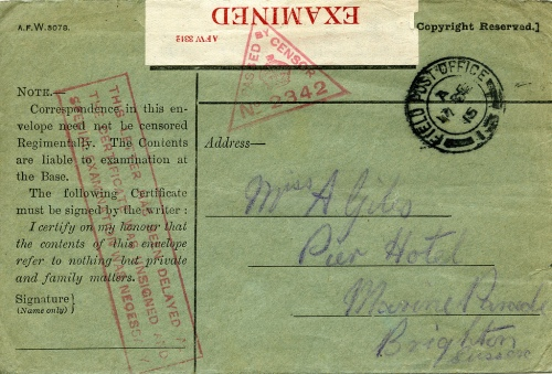 An 'honour envelope' used during the First World War. These envelopes would not be opened and read by the censor if the sender signed the declaration that there was no war information being conveyed. This example however was not signed and so was opened by the censor. (PH32/27)