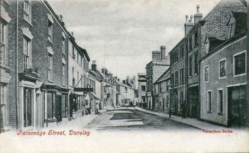 Parsonage St., Dursley, circa 1910. The old post office was on this street. Postcard from Kenneth's collection.