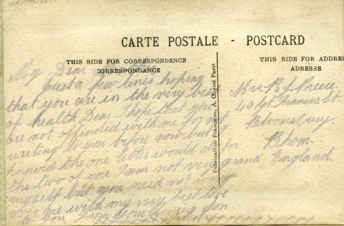 A postcard from a soldier to his mother. (OB1995.64/1)