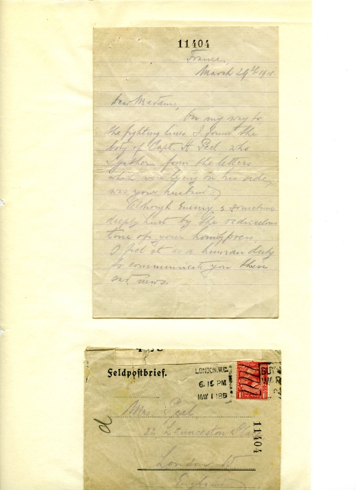 Letter from German solider to Home Peels wife. OB1997.212/37)