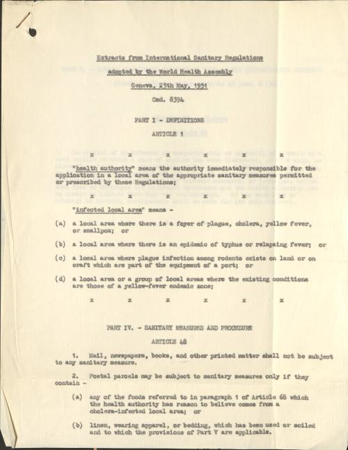 International Sanitary Regulations (POST 122/3535)