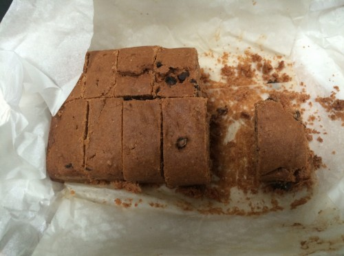 Trench cake sent from our office in Islington to our Clerkenwell Office. It arrived in one piece and we are enjoying it this morning!