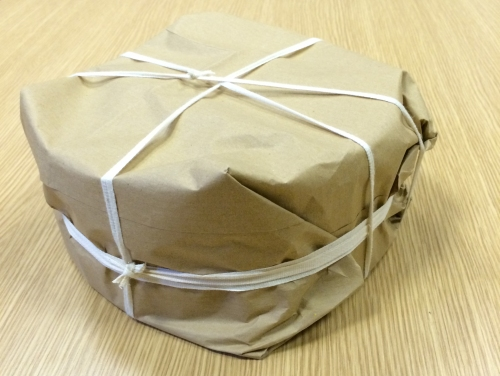 No sellotape used - only brown paper and string!