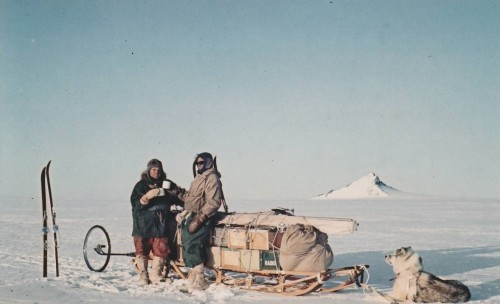 Tony Baker and Lewis Juckes drinking in the New Year of 1965 by the light of the midnight sun, about 300 miles east of Halley Bay.  One of the mailbags makes up the front of the sledge load.