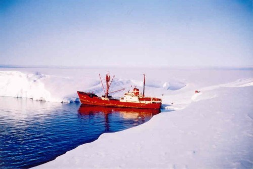 """The Kista Dan unloading in Halley Bay, January 1964.  This was one of the few usable bays in the otherwise continuous ice cliffs that made up the edge of the ice shelf.  The base had been constructed about a mile """"inland"""", on the flat surface of the ice shelf although by this time the older buildings had become completely  buried by the annual accumulation of snow."""