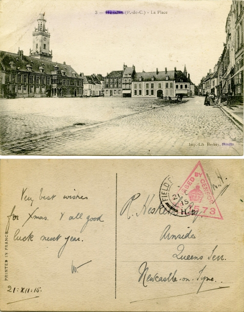 Front and reverse of a postcard sent from the front, showing the censor stamp. All post passed through censorship to ensure vital information was not leaked.