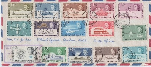 A full set of British Antarctic Territory stamps on a letter posted to South Africa from Halley Bay on 30th January 1964.