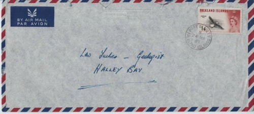 The standard rate for a letter between the bases and the Falkland Islands was 1d (one old penny) in the mid-1960s.  It was not an airmail service but often these envelopes were the only ones to hand.