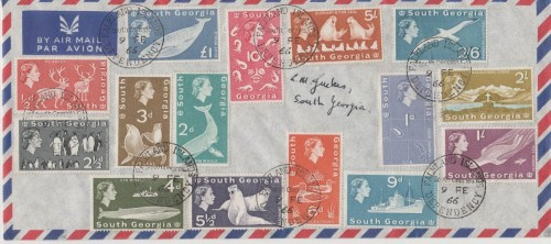 A full set of stamps of the Falkland Islands Dependency of South Georgia, dated 9th February 1966.  The last whaling station there had closed a few months earlier but the stamps still reflect that era.