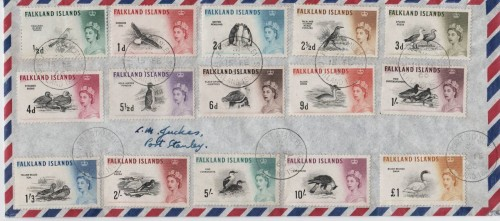 A full set of Falkland Island stamps franked in Stanley Post Office, 15th February 1966.  The ink-pad was probably due for renewal!