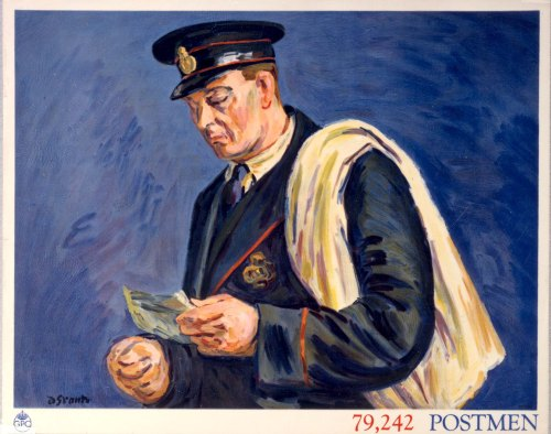 Limited Edition Postcard featuring the poster '79,242 Postmen'. Mar 1939. Poster artist: Grant, Duncan.