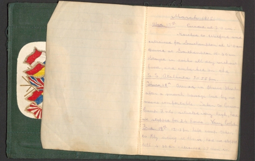 Page from Sergeant Thomas May's Diary written in pencil in the years 1915 and 1916 whilst a member of the Post Office Rifles,with details of his daily life, including thoughts on 'going over the top'.