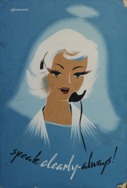 POST 109/23, Speak Clearly Always!, poster artwork by Pieter Huveneers, 1958
