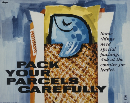 POST 110/2606, Pack your parcels carefully, poster by Hans Unger, 1960
