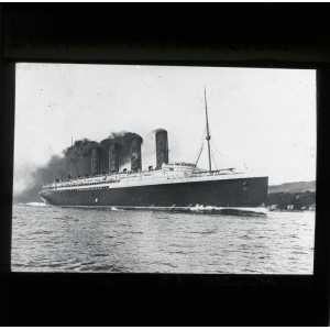 'LUSITANIA AT FULL SPEED' - Lantern Slide, 2012-0039