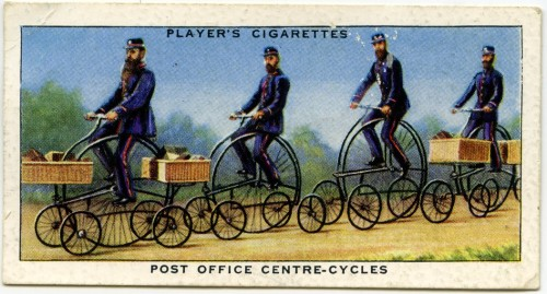 Front of Player's Cycling cigarette card showing four postmen on Centre cycles, otherwise known as 'Hen and Chicks'.