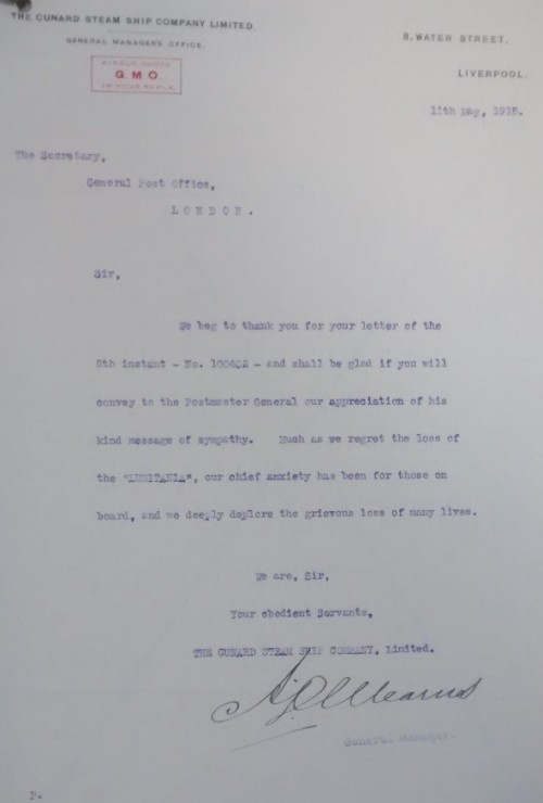 image of Cunard letter, POST 29/1277A