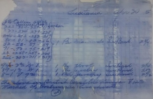 image of American Express Company bill of lading from the Lusitania, POST 29/1277A