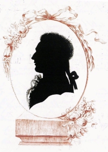 A traditional silhouette portrait of the late 18th century