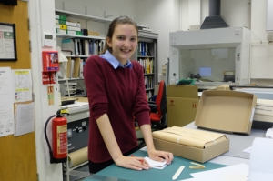 Work experience trainee Abi in the Conservation Studio