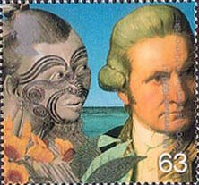 Millennium Series, The Travellers' Tale, Captain Cook and Maori 63p Stamp (1999)