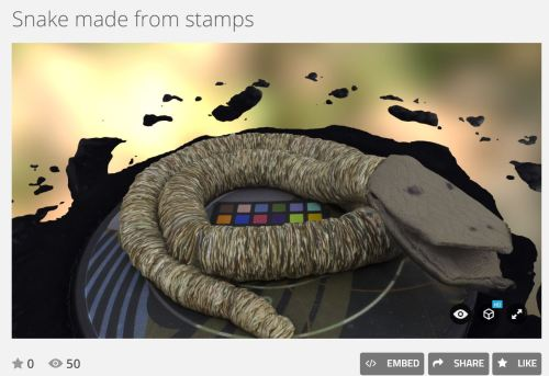 3D model of Stamp Snake. You can manipulate the model here: https://sketchfab.com/models/8c78b277cb0c4b2c9a3901970c94e2f4