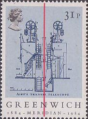 Centenary of Greenwich Mean Time, Sir George Airey's Transit Telescope 31p Stamp (1984)