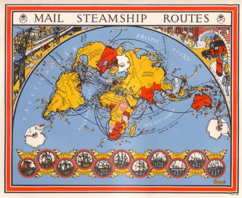 Map of the world with lines running from the British Isles, showing steamship routes. Illustration by Macdonald Gill