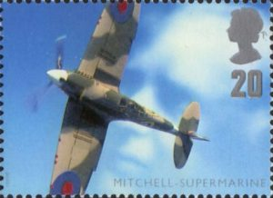 Architects of the Air 20p Stamp (1997) Reginald Mitchell and Supermarine Spitfire MkIIA