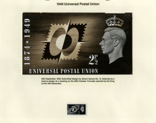 KGVI, 1949 Universal Postal Union: Submitted design by Abram Games