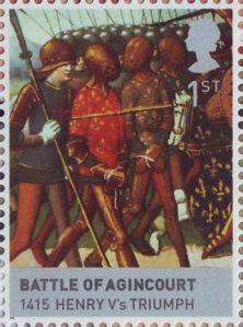 The Houses of Lancaster and York 1st Stamp (2008) Battle of Agincourt, 1415 Henry V's Triumph
