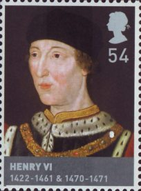 The Houses of Lancaster and York 54p Stamp (2008) Henry VI (1422-61 & 1470-71)
