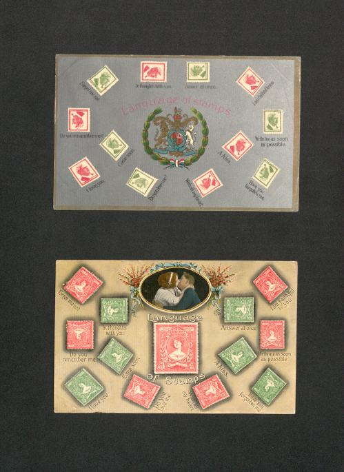 Postcards showing the 'Language of Stamps'