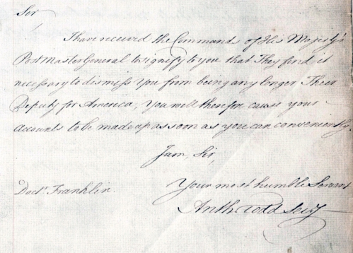 Copy of a letter, dated 31 January 1774, dismissing Benjamin Franklin (POST 48/4).