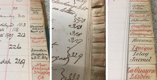 Snapshots of indexes from mid-19th century letter books (POST 48 various).