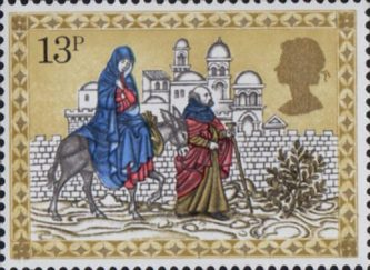 Christmas 13p Stamp (1979) Mary and Joseph travelling to Bethlehem