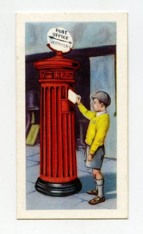 Trade card showing a boy posting a letter into a fluted letter box.